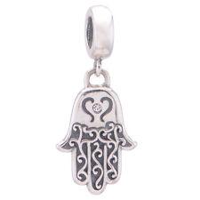 Hand of Hamsa Charm - Silver European Charm - Fatima Hand Pendant