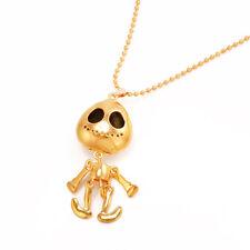 New Alien Big Eye ET Skull Animal Skeleton Head UFO Chain Pendant Necklace Gold