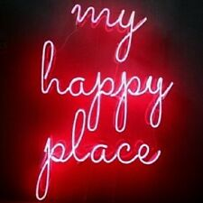 My Happy Place Neon Sign Acrylic Light Gift Artwork Glass Open Bar With Dimmer