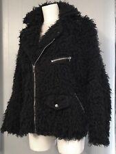 Unif Black Faux Fur Moto Biker Jacket Size L