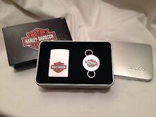 Harley Davidson Brass Zippo Lighter & Key Ring Set - Harley Shield -HD156