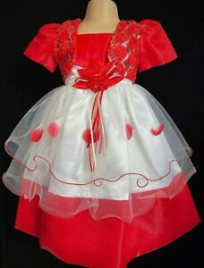 Red White Flower Girl Summer Wedding Easter Xmas Guest Formal Party Dress 0-24m