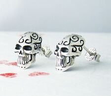Skull Earrings Sterling Silver Halloween Unique Funny Gift Idea Celtic Patterns