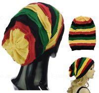 70s Party REGGAE Ribbed GREEN YELLOW RED Striped Jamaica Jamaincan Hat Beanie