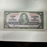 1937 Canadian 10 Dollar Bill   AU-UNC