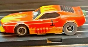 Tyco Pro Flamed Trick Mustang Funny Car Orange / Yellow Brass Pan Silicone Tires