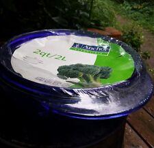 ANCHOR HOCKING Cobalt Blue Lidded Glass Mixing Bowl 2 Quart Wrapped NOS