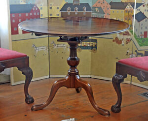 Antique Mahogany Queen Anne Bird Cage Tilt Top Tea Table C 1760 Carved Dish Top