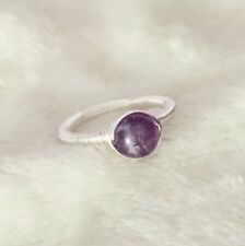 Amethyst Sterling Silver Wire Wrap SimpleRing Handmade Gemstone Size Large