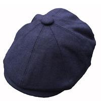 G & H Navy Wool Newsboy 8 Panel 1920s  Peaky Blinders Style Gatsby Flat Cap Hat