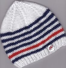 """3-6 Mths  14""""/17"""" Nautical Hat for Baby~ White/blue/red~NEW Hand Knitted"""