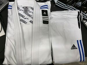 adidas Contest Jiu Jitsu Gi White A4 w/ Blue Stripes