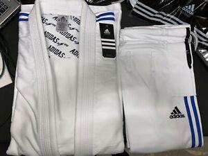 adidas Contest Jiu Jitsu Gi White A4 w/ Blue Stripes