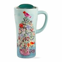 TAG Travel Coffee Tea Mug Christmas Tree Bird Handle Lid Presents Wreath Snow