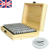 UK Round Wooden Coins Display Storage Box Case for Collectible Coin 50 Capsules