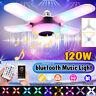 120W LED Deformable Ceiling Fan Light RGB bluetooth Music Speaker Lamp w/ Remote