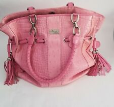 Isabella Adams women's handbag pink leather embossed large made in China