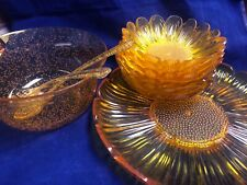Vintage Mid Century Acrylic Hard Plastic Set of Dinnerware Retro Amber Lot 10