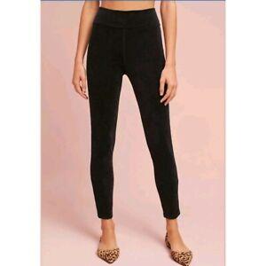 Anthropologie Cartonnier SP S Petite Black Ribbed Textured Velvet Leggings NEW