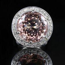 26.20CT Morganite & Diamond Fabulous Large Halo Wedding Ring 925 Sterling Silver