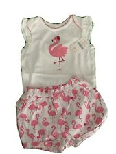 Gymboree Baby Girl 12-18m Outfit Flamingo Print NWT