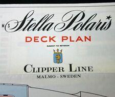 CLIPPER LINE STELLA POLARIS Color Coded Deck Plan Sweden 1958