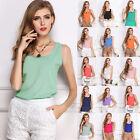 Fashion Sexy Women Casual Sleeveless Chiffon Shirt Blouse Tank Vests T Shirt Top