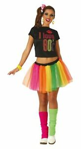 Womens I Love The 80's Costume Retro Neon Hen Party Fancy Dress Outfit UK 10-12