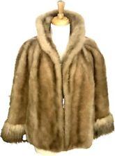 Vtg Glenoit Shrug Shawl Bolero L XL Faux Fur Stole Wrap Tan Brown USA