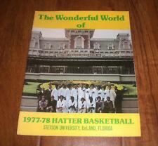 1977-78 STETSON UNIVERSITY HATTERS BASKETBALL MEDIA GUIDE