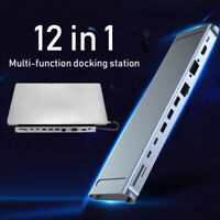 12in1 Type-c Docking Station USB C Hub USB 3.0 4K 3.5MM VGA for Macbook HP DELL
