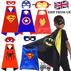 Kids Superman Spider Man Cape & Mask Costume Set Halloween Gift  Batman Cloak*UK