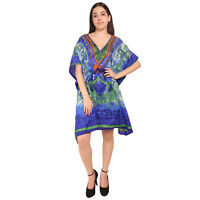 Short kaftan Floral Indian Women's Cocktail Nightwear Dress Maxi For Ladies