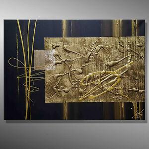GOLD 3D BILDER MALEREI ORIGINAL 70x50 Gemälde Acrylbild KUNST abstrakt MICO ART