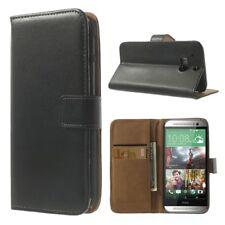 HTC One M8 Wallet Case echt Leder Etui Genuine Split Schutz hülle Cover schwarz