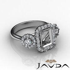3 Stone Emerald Round Semi Mount Diamond Anniversary Ring 14k White Gold 1.1Ct
