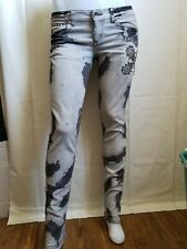 Guess PREMIUM Jeans FOXY Skinny STUDS WITH ROSE POCKET BLEACHED LOOK SZ 29×31