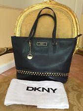 DKNY Nieten NAVY Handtasche Tasche TOP Leder EDEL Luxus BAG Donna Karan NY