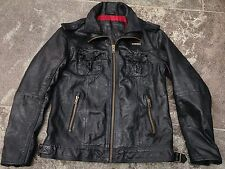SUPERDRY BRAD BLACK LEATHER JACKET SIZE XXL VERY GOOD CONDITION!!!!!!