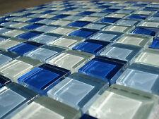 Glasmosaik Mosaikfliese Platte blau 8mm dick Klarglas 29,8x 29,8x0,8cm AKTION