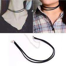 Black Fashion Gothic Velvet Ribbon Double Choker Collar Chain Necklace Jewelry