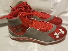 NEW Men's Under Armour Spine Mid Metal Baseball Cleats Red and White