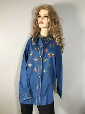 Women's Bob Mackie Top Shirt Long Sleeve L Large Embroidery Rodeo Horse Show