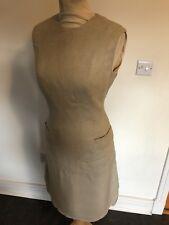 VINTAGE 50'S BEIGE RENSOR WOOL WIGGLE TEA SHIFT DRESS UK 10 SMALL