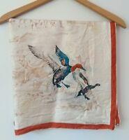 "Vintage ECHO Scarfs, Inc Silk Scarf ""Wild Ducks"" Hand Painted 1950s Rare"