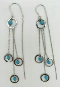 Dainty 925 Sterling Silver Dangle Circle Faux Turquoise Stone Threader Earrings