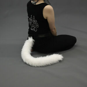 PAWSTAR Furry Kitty Tail - Cat Cosplay Long Soft Thin Costume Gray Grey 3500