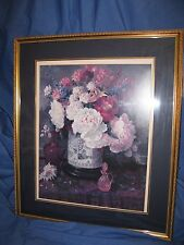 Large Home Interiors Gold Wood Framed Floral Picture-1988-Glenna Kurz-38x33-EprC