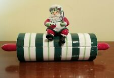 Fitz and Floyd Santas Kitchen Christmas Lidded Box Rolling Pin 2005 Cookie Candy