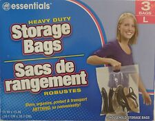 "3 ~ New BIG LARGE Plastic STORAGE BAGS w Handle 15"" x 15"" Zip Loc Clothes BAG"